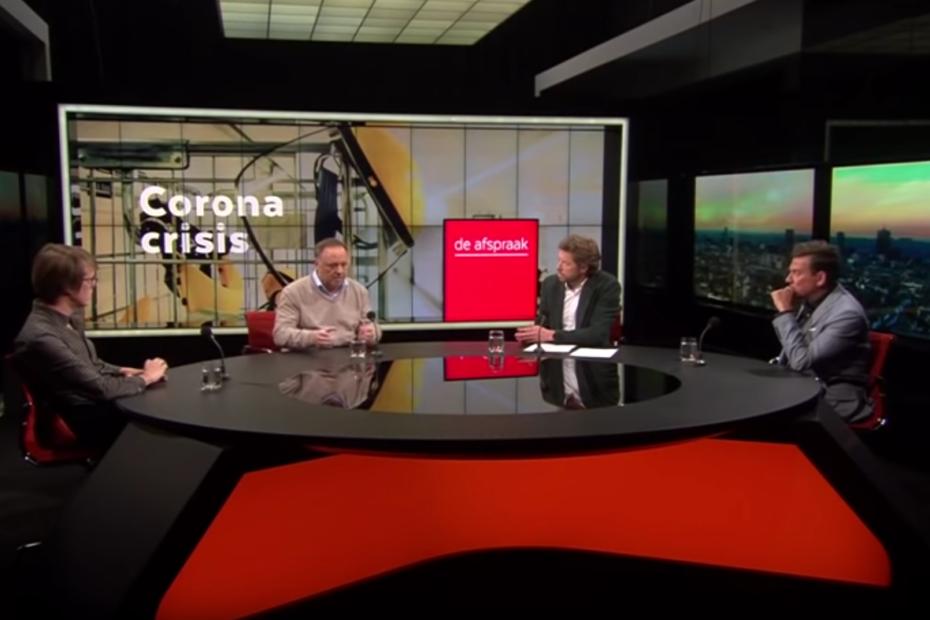 Gesprek in De Afspraak over de corona-pandemie, met viroloog Marc Van Ranst, filosoof Maarten Boudry en journalist Jan Segers en presentator Bart Schols
